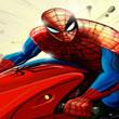 Hombre araña en motocicleta